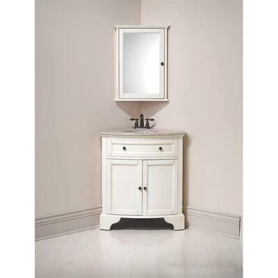 Hamilton 31 in. W x 23 in. D Corner Bath Vanity in Ivory with Granite Vanity Top in Grey