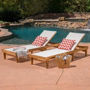 Summerland White and Teak Brown Wood Adjustable Outdoor Chaise Lounges (Set of 2)