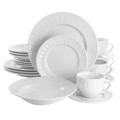 20-Piece Charlotte White Porcelain Dinnerware Set (Service for 4)