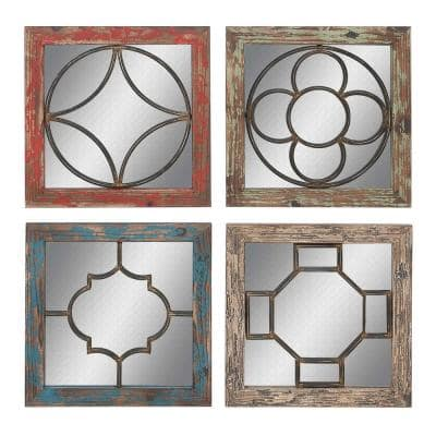 Set of 4 Farmhouse 15 Inch Square Wooden Framed Wall Mirrors With Geometric Design Iron Overlays