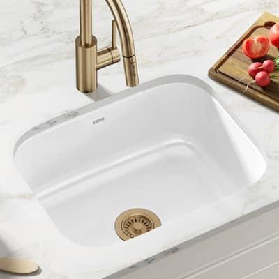 Pintura Undermount Enamel Steel 23 in. Single Bowl Kitchen Sink in White