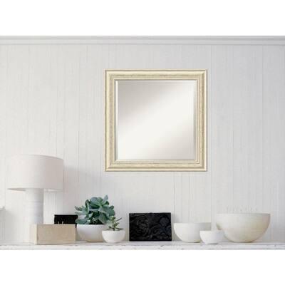 Medium Square Rustic Whitewash Cream Casual Mirror (24.5 in. H x 24.5 in. W)