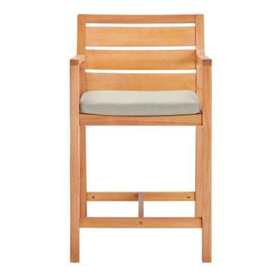Portsmouth Karri Wood Outdoor Bar Stool in Natural with Taupe Cushion