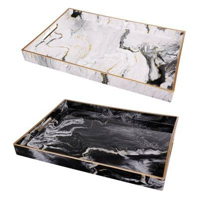 Quinn Rectangular Black, White, Gold Trays