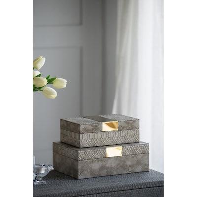 Metal Banded Python Print Decorative Rectangular Boxes (Set of 2)