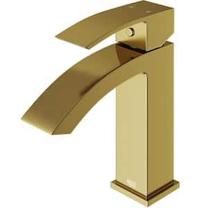 Satro Single Hole Single-Handle Bathroom Faucet in Matte Gold
