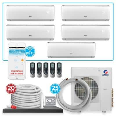 Multi-21 5 Zone 40944 BTU Wi-Fi Ductless Mini Split Air Conditioner & Heat Pump with 25 ft. Install Kit-230V/60Hz