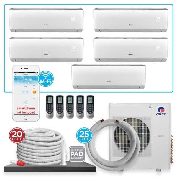 Gree Multi 21 5 Zone 40944 Btu Wi Fi Ductless Mini Split Air Conditioner Heat Pump With 25 Ft Install Kit 230v 60hz Multi42hp510 The Home Depot