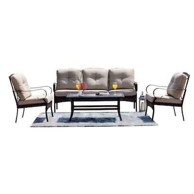 Artist 5-Piece Wicker Outdoor Sofa Set with Beige Cushions