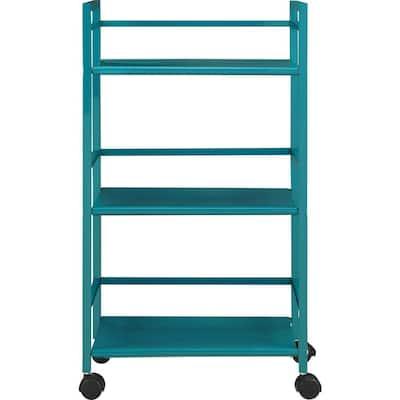 Knoll View Teal 3-Shelf Metal Rolling Utility Cart