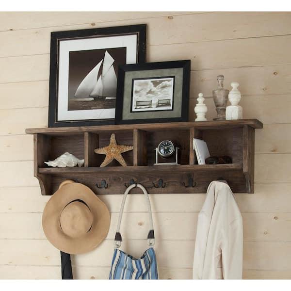 "48/"" Hanging Entryway Cubbie Storage Shelf Wall Mount Coat Rack w//Hooks Black"