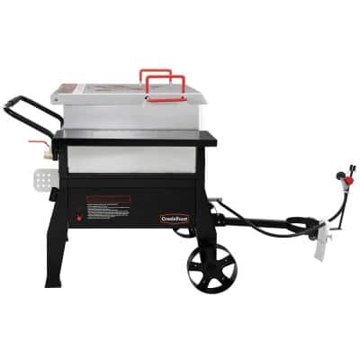 Single Sack Crawfish Boiler Outdoor Stove Propane Gas Grill Cooker in Black