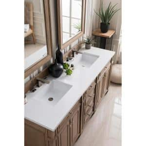 Bristol 72 in. Single Bath Vanity in Whitewashed Walnut with Quartz Vanity Top in Classic White with White Basin
