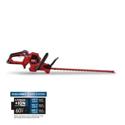 Flex-Force 24 in. 60-Volt Max Lithium-Ion Cordless Hedge Trimmer (Bare-Tool)