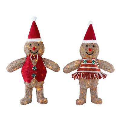 3 ft Yuletide Lane LED Brown Acrylic Gingerbread Girl and Boy (Set of 2)