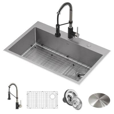 Loften All-in-One Dual Mount Stainless Steel 33in. Single Bowl Kitchen Sink with Pull Down Faucet in Black and Steel