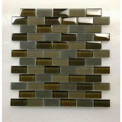 Free Flow Madiera Brown Brick Mosaic 1 in. x 2 in. Glass Wall Pool and Floor Tile (0.96 Sq. ft.)