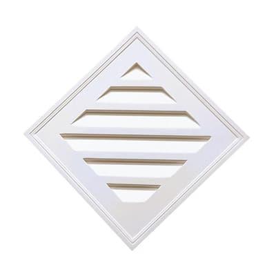 24-1/4 in. x 24-1/4 in. x 2 in Polyurethane Decorative Diamond Louver Vent in White