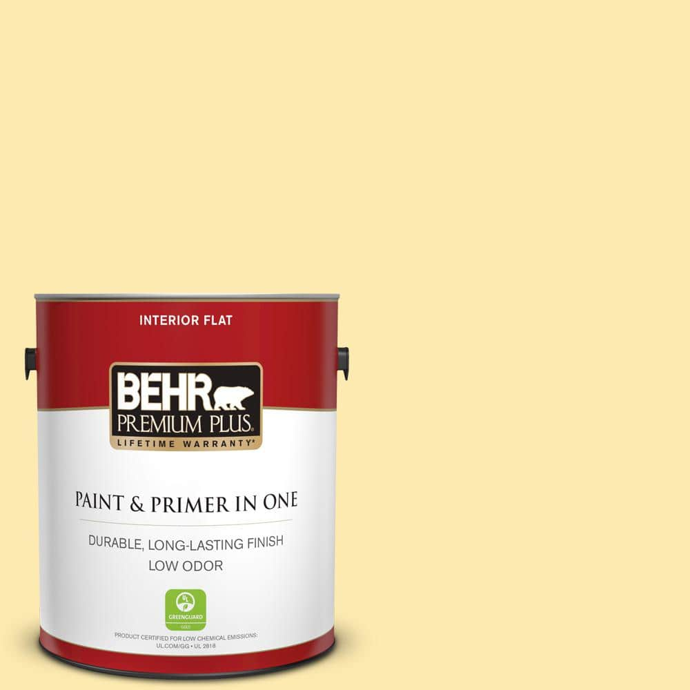 Behr Premium Plus 1 Gal 370a 2 Pale Daffodil Flat Low Odor Interior Paint And Primer In One 105001 The Home Depot