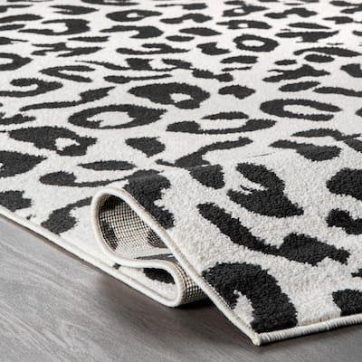 Leopard Print Dark Gray 8 ft. x 10 ft. Area Rug