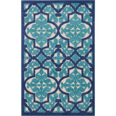 Aloha Navy 3 ft. x 4 ft. Moroccan Bohemian Indoor/Outdoor Area Rug