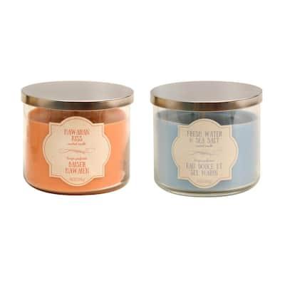 Hawaiian Kiss and Fresh Water & Sea Salt Scented Wax Candles - Island Collection (set of 2)