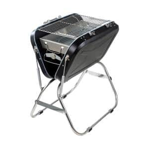 Portable Outdoor Charcoal Grill Household Stainless Steel BBQ in Black