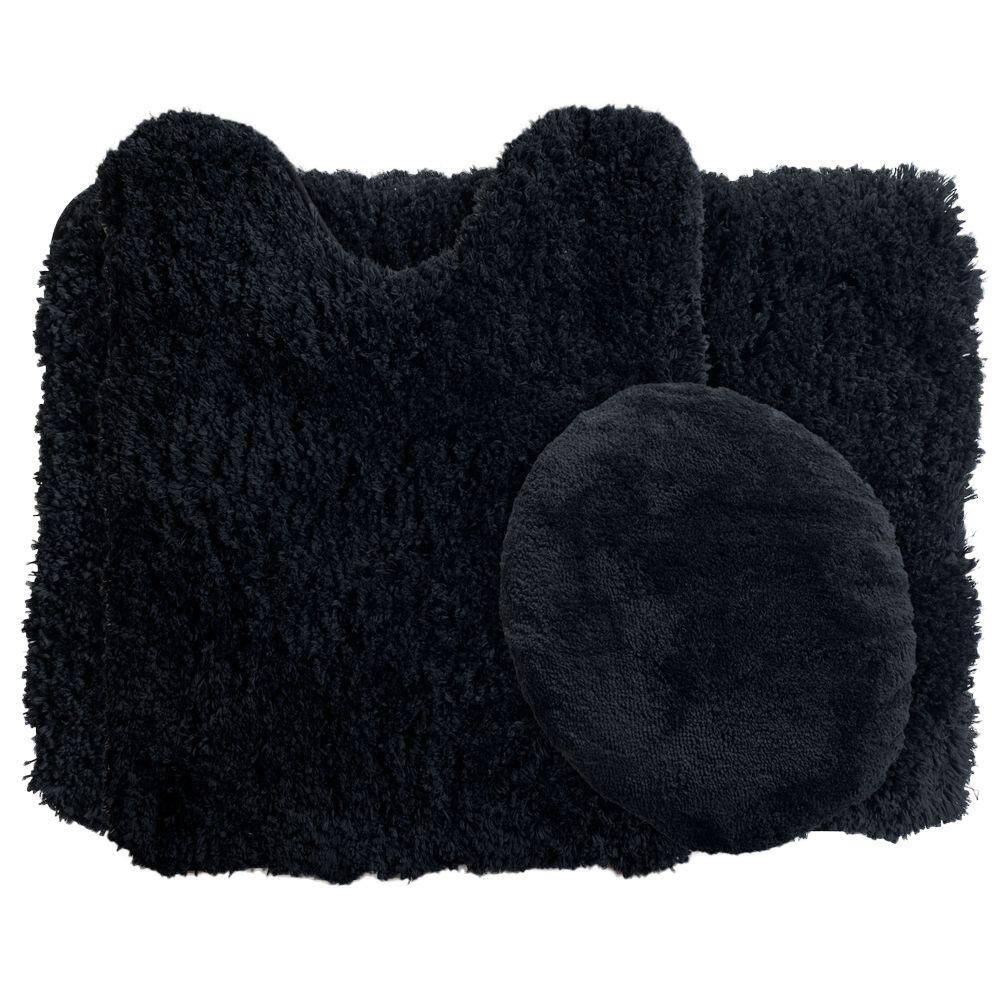 Lavish Home Black 19 5 In X 24 In Super Plush Non Slip 3 Piece Bath Rug Set 67 14 Bl The Home Depot