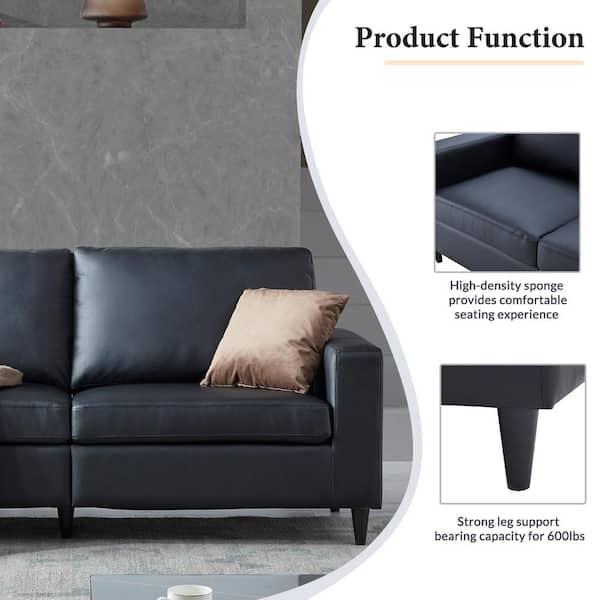 Black Faux Leather 2 Seat Sofa, Sofa Cushion Support Home Depot