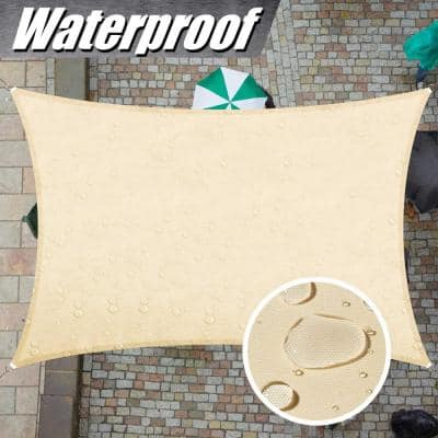 12 ft. x 7 ft. 220 GSM Waterproof Beige Rectangle Sun Shade Sail Screen Canopy, Outdoor Patio and Pergola Cover