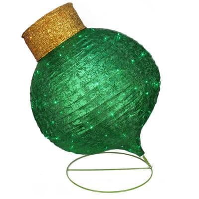 36 in. Christmas LED Lighted Twinkling Green Glitter Onion Ornament Outdoor Decoration