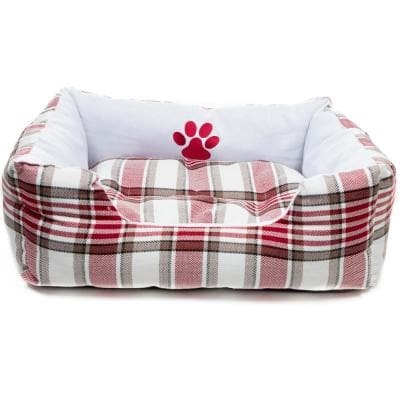 Hadley Large White-Red Square Pet Bed