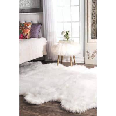 Octo Ayana Faux Sheepskin Shag White 6 ft. x 7 ft. Area Rug