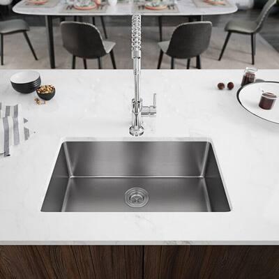 Undermount Stainless Steel 28-1/8 in. Single Basin Kitchen Sink Kit