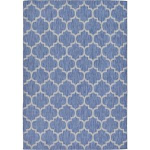 Outdoor Trellis Blue 7' 0 x 10' 0 Area Rug