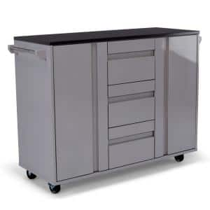 Linear Gray Kitchen Cart with Black Granite Top