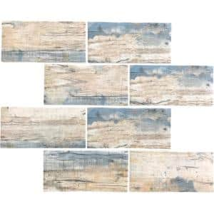 Blue Beige 11.5 in. x 11.5 in. Matte Finished Subway Recycled Glass Mosaic Tile (9.18 sq. ft./Case)