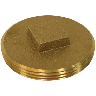 6 in. Brass Raised Head Southern Code Cleanout Plug 6-1/2 in. O.D. for DWV