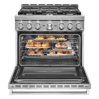 36 in. 5.1 cu. ft. Smart Commercial-Style Gas Range with Self-Cleaning and True Convection in Stainless Steel