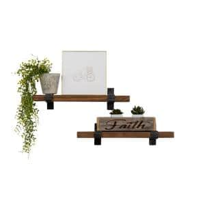 Industrial Grace 6 in. x 24 in. x 6 in. Walnut Pine Wood Floating Decorative Wall Shelves with Wrap Brackets (Set of 2)