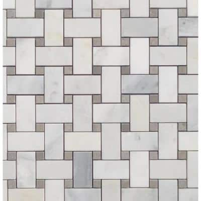 String Asian Statuary Basketweave 12 in. x 12 in. Honed Mesh-Mounted Mosaic Tile