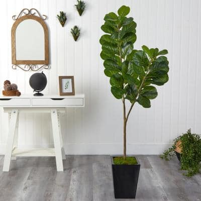 68 in. Fiddle Leaf Fig Artificial Tree in Black Metal Planter