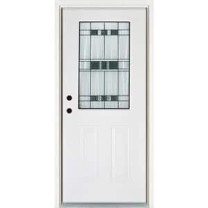 32 in. x 80 in. Right-Hand Inswing 1/2-Lite Savana Decorative Glass White Finished Fiberglass Prehung Front Door