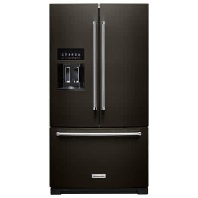 27 cu. ft. Bottom Freezer Refrigerator in PrintShield Black Stainless with Exterior Ice and Water