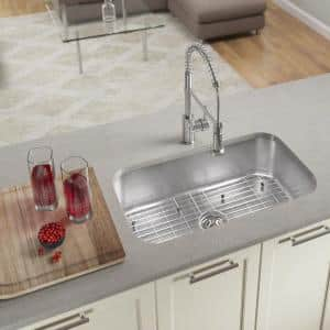 Undermount Stainless Steel 32 in. Single Bowl Kitchen Sink with Additional Accessories