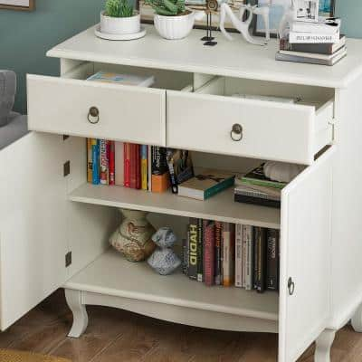 35.4 in. 2-Doors White Wood Storage Accent Cabinet with 2-Drawers and Freestanding Storage Cupboard
