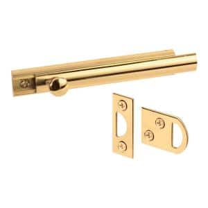 Surface Bolt, 4 in., Solid Brass Construction, Polished Finish