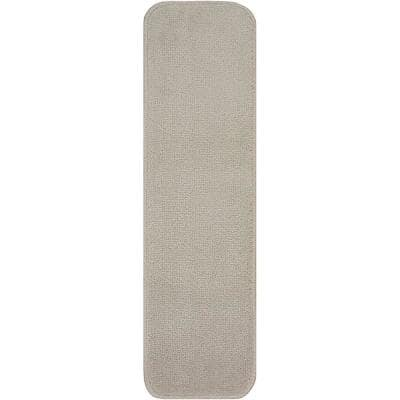 Trendy Collection Smoke White 8-1/2 in. x 30 in. Indoor Carpet Stair Treads Slip Resistant Backing (1-Piece)