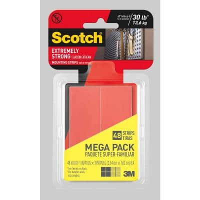 Scotch 1 in. x 3 in. Extremely Strong Mounting Strips Megapack ((48-Pack)(Case of 6))