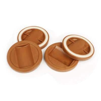 3-1/4 in. Caramel Color Bed Roller/Furniture Wheel Caster Cup Gripper Set of 4
